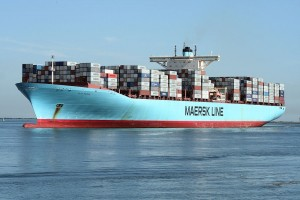 The Edith Maersk, the largest vessel ever to enter the River Thames, docked at DP World London Gateway