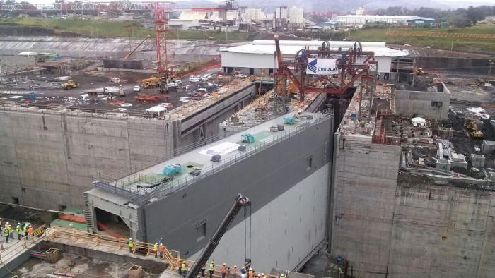 The Panama Canal expansion program is gathering pace with the arrival of the massive new lock gates. Photo courtesy ACP