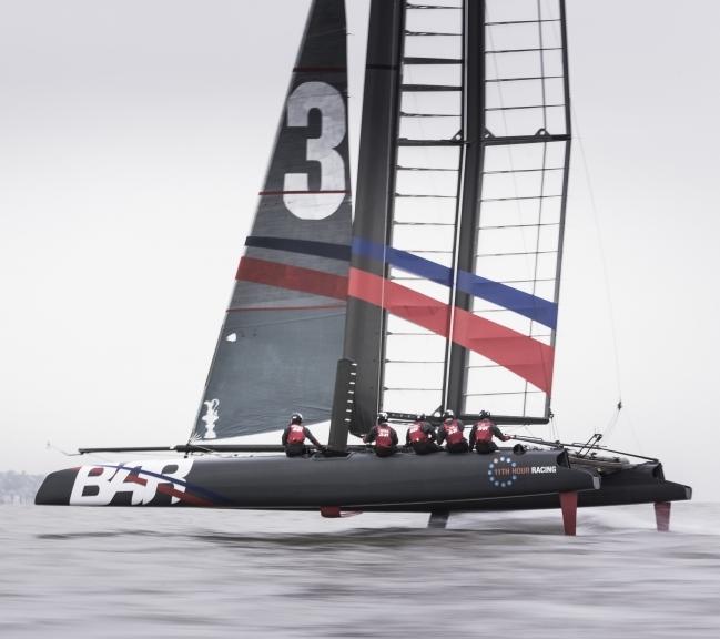 Ben Ainslie Racing Americas Cup team on the water in their catamaran. Photo: Mark Lloyd/Lloyd Images