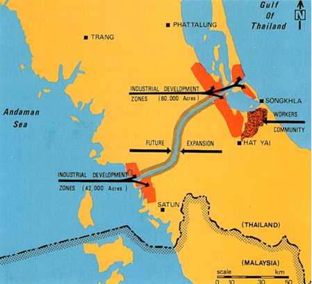 Proposed route of the Kra-Canal through southern Thailand