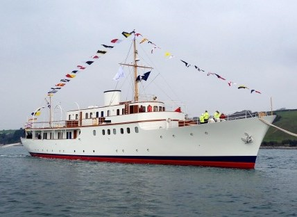 The 165ft / 50m classic motor yacht Malahne was re-launched on March 14th at Pendennis Shipyard