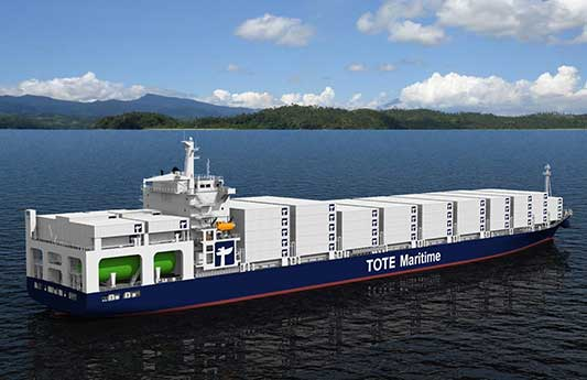 Artist's rendering of TOTE-1, the world's first LNG powered  containership to be built by General Dynamics NASSCO