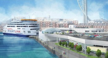 An artist's impression of the new Wightlink ferry for the Fishbourne to Portsmouth route
