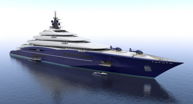 Australian superyacht designer, Christopher Seymour, has revealed his latest creation entitled Double Century which at 200m long is 20m longer than the Azzam built by Lurssen and boasts a cool price tag of 699 million euros