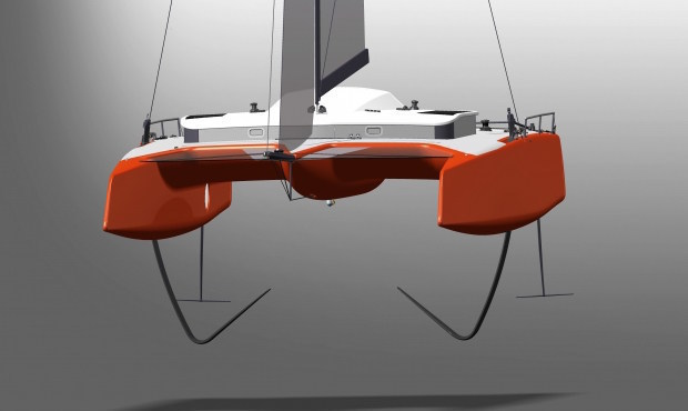 If built this catamaran will utilise the very latest thinking in hydrofoil technology