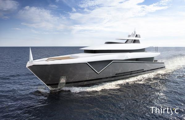 ThirtyC has revealed its dramatic looking exterior for its 50M yacht 'MAKO'