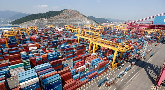 The latest research by Moore Stephens reveals shipping confidence levels are rising. Busan New Port, South Korea (Reuters)