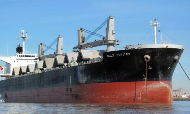 The Bulk Jupiter which sank carrying a caro of bauxite with the loss of 18 lives