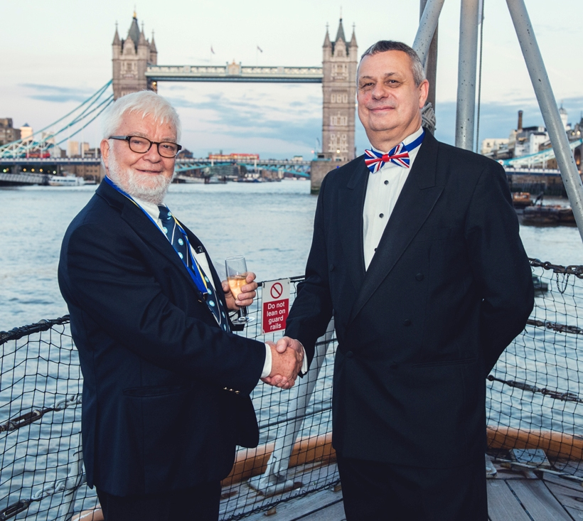 The IIMS President (Capt Bertrand Apperry) and I aboard HMS Belfast at the Conference Dinner