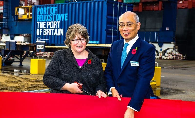 Clemence Cheng and Dr Therese Coffey MP celebrate the opening of the new mega ship facility at the Port of Felixstowe