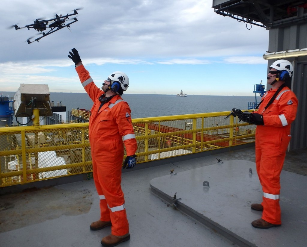 A sign of the changing technology as Sky-Futures carries out its first ever drone inspection