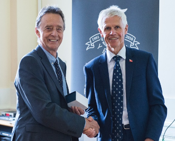 Mike Andrews (left) being presented with his award by Sir Alan Massey. Photo by Kirk Schwarz - www.kirkschwarz.co.uk