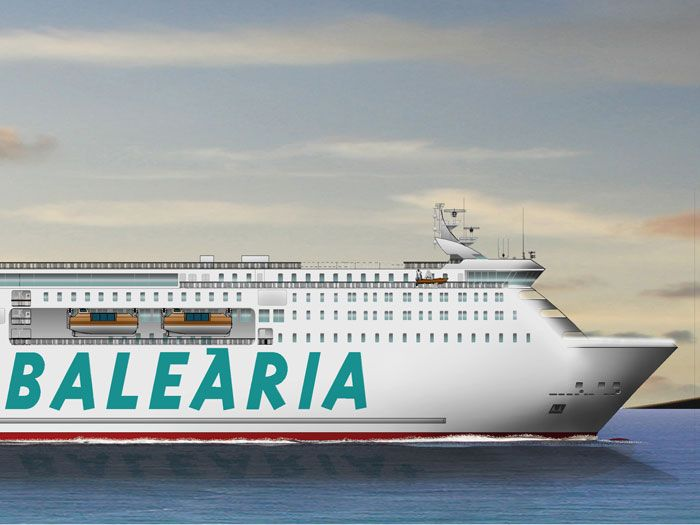 An impression of the new LNG fuelled Baleària vessel that will be the largest ferry operating in the Mediterranean from 2019.