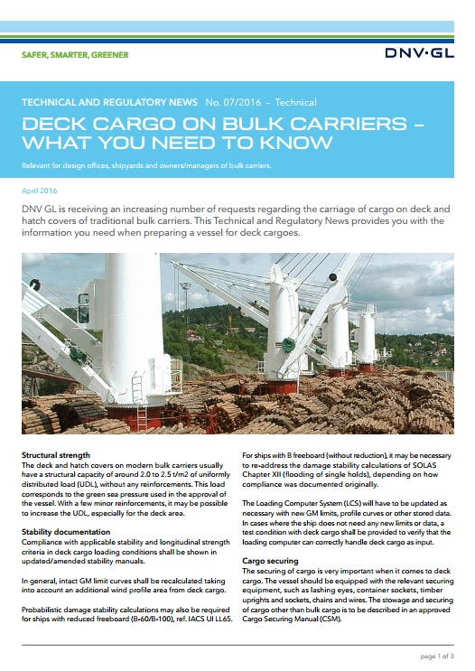 DNV publishes guidance on deck cargo for bulk carriers