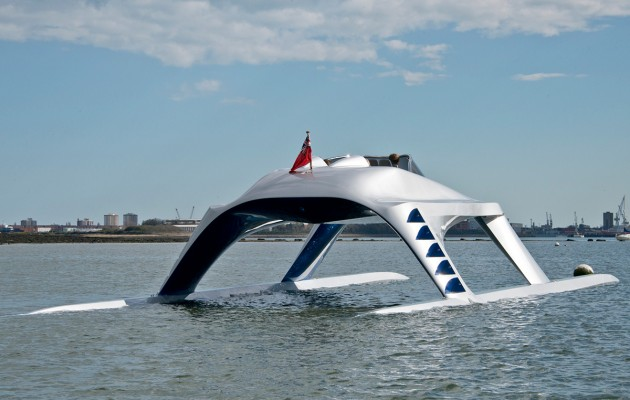 The new iconic and eye catching Glider Yacht on its sea trials