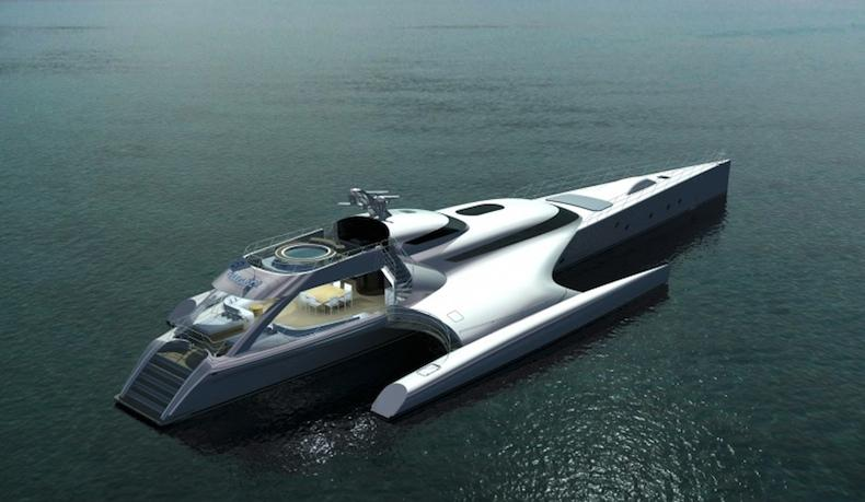 One of a pair of striking vessels launched by Latitude Yachts which will jointly hold the title of the world's largest trimarans