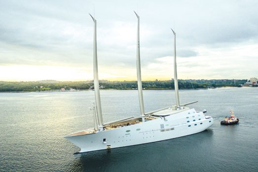 Sailing Yacht A proudly displaying her giant masts by Magma Structures