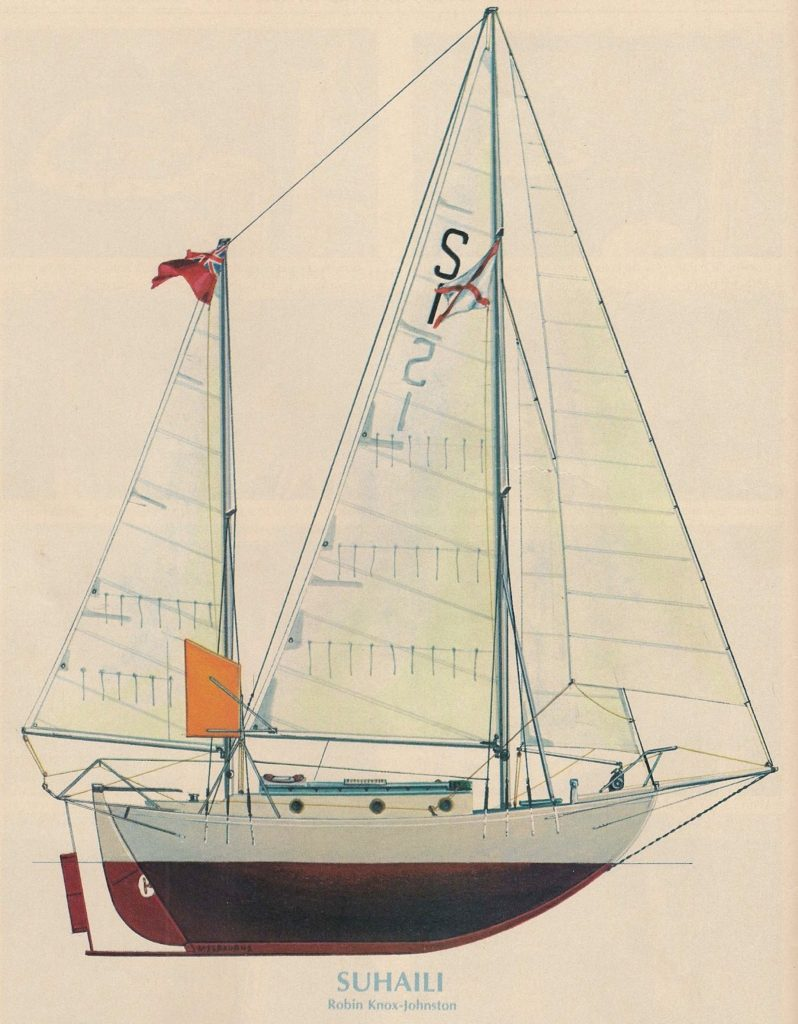 Painting of SUHAILI by Melbourne Smith. Published by Rudder Magazine in September 1974