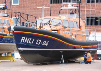 One of the RNLI Shannon class vessels undergoing inspection