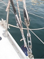Figure 4: HPME stranded rope rigging (Dynice DUX) spliced around special thimbles and attached to (turnbuckles) rigging screws. It should be noted that the shroud in the foreground (without black chafe protection can easily be fully inspected. Picture courtesy of Colligo Marine