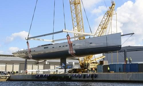 The world's largest carbon-fibre sloop has been launched by Baltic Yachts