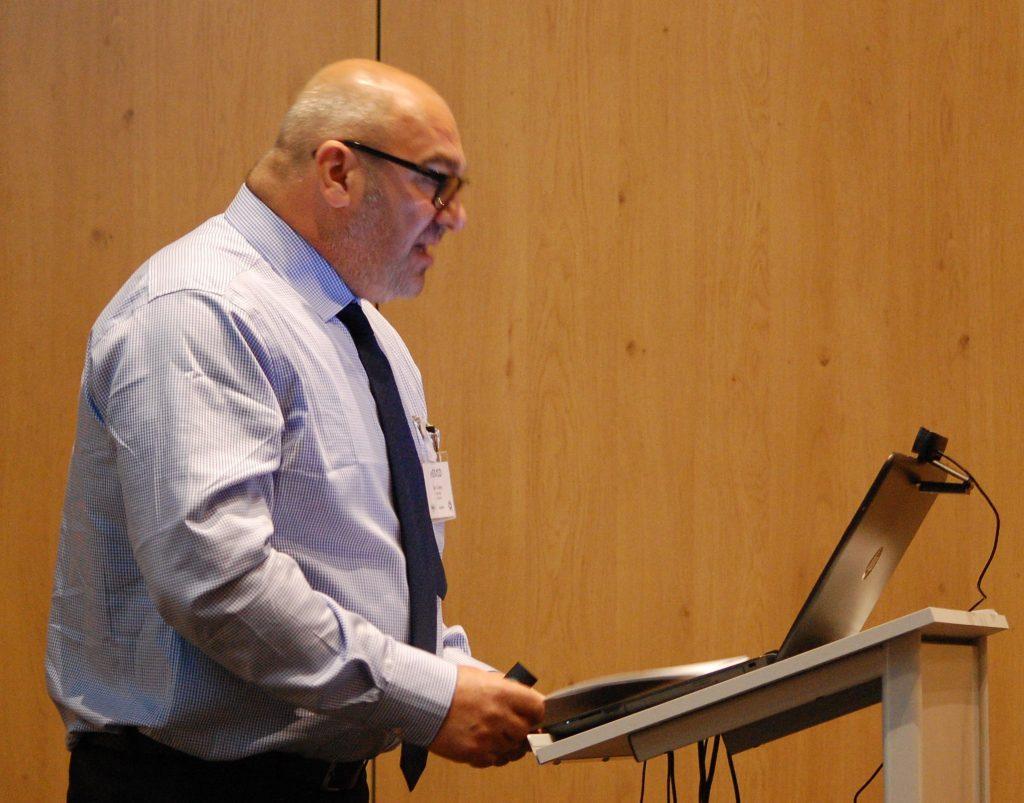 Lead tutor, Capt Ian Coates, addressing the first eCMID conference