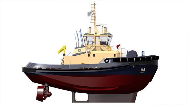Impression of the new Harbour tug to be powered by Rolls-Royce MTU engines. Image courtesy of Rolls-Royce