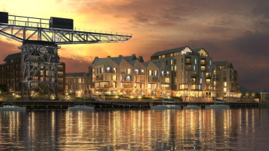 Artist's impression of the redeveloped Cowes waterfront. Image credit: John Thompson & Partners