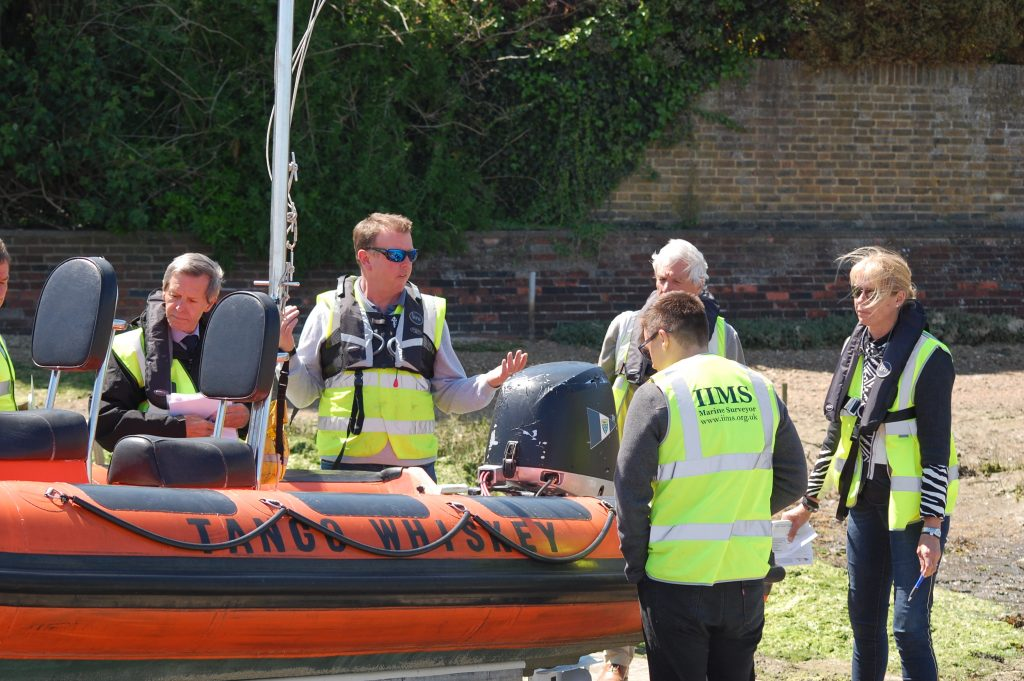John Excell leads proceedings as the group work on a RIB tonnage