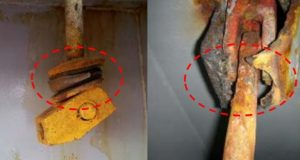 Photo image: ClassNK. Damaged rubber washer wastage and damage of securing device crutch
