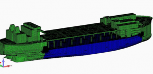 The method developed utilizes a ship specific 3-D hydrodynamic model to simulate the ship's rigid body dynamic response to wave conditions, measuring the resulting ship motions and pressure distribution on the hull.