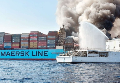 Fire crews tackle a container blaze onboard Maersk Honam in 2018