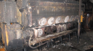 Photo credit: NTSB. Inboard side of Leland Speake's port main engine at the lower engine room level