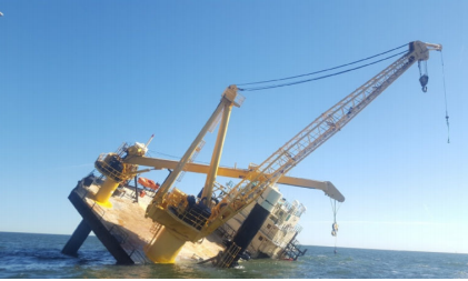 Liftboat, Ram XVIII, overturned in the Gulf of Mexico