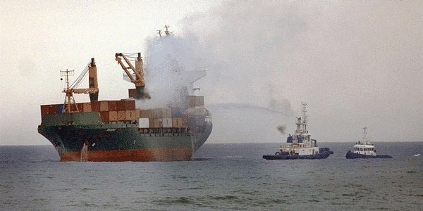 Container ship fires originating from dangerous goods