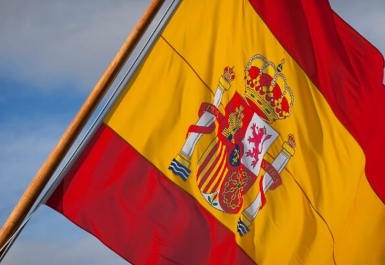 The Spanish flag being flown on a vessel at sea