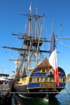 Stern view of the replica (2014) French frigate L'Hermione, originally built in 1778