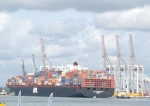 Large boxship nearing its berth in Southampton Water