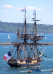 The replica (2014) French frigate L'Hermione, the original built in 1778
