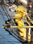 The figurehead of the replica (2014) French frigate L'Hermione, first constructed in 1778