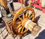The compass and steering wheel of the Russian frigate Shtandart, replica built in 1999, the original from 1703