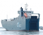 One of the many car carriers to be found at sea