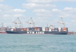 Large NYK Line box ship berthed at Southampton