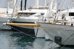 Unusual bowsprit on this yacht