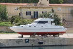 Motor boat spotted out of the water in Majorca