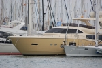 Striking gold coloured hull on this Palma based superyacht