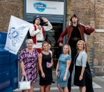 From left to right, Sam, Elle, Elly and Tania from head office at close quarters with those menacing pirates!