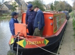 Surveyors onboard a traditional narrow boat