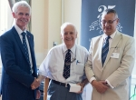 Award winner, Capt Barry Thompson, with Sir Alan Massey (left) and Mike Schwarz